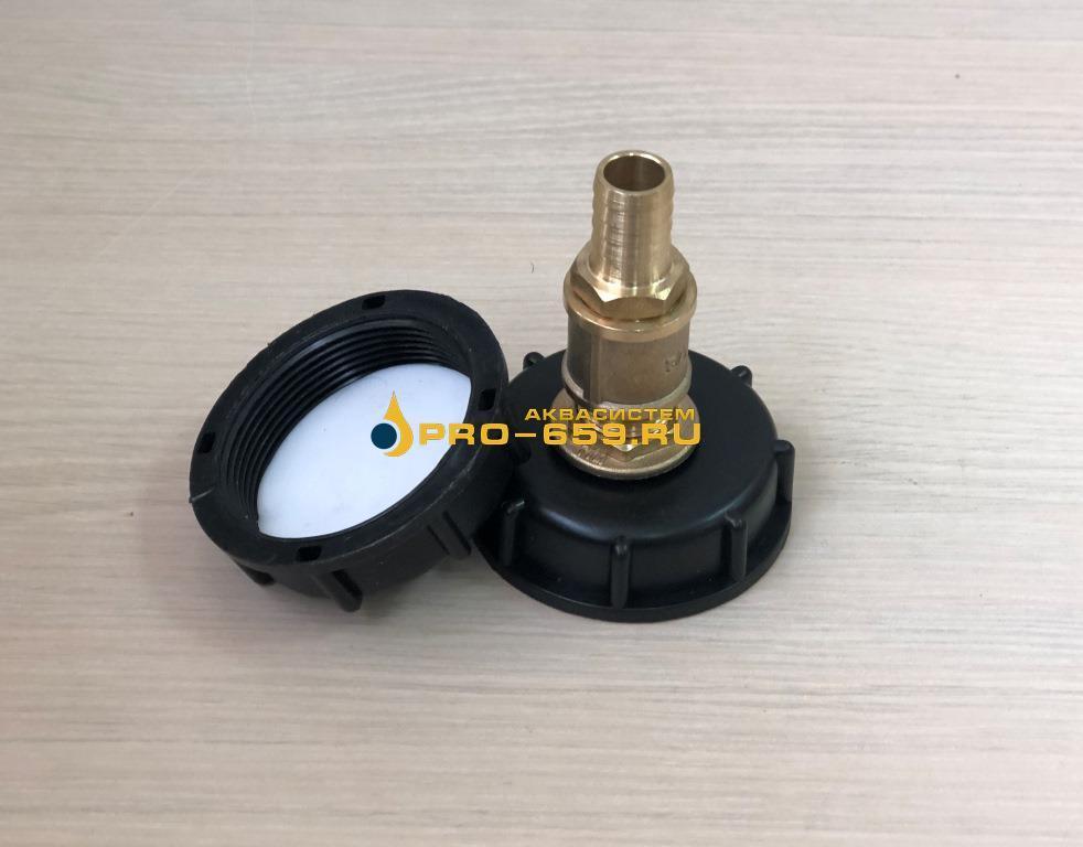 Крышка 60 мм (мелкая резьба)  с врезкой и штуцером